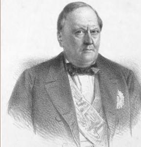 Don Carlos Antonio López según una litografía de Canelle, imagen inserta en El Paraguay (1862) de Du Graty