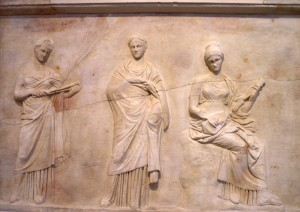 Relieve siglo IV a.C. representando a las musas, Museo Arqueológico Nacional de Atenas, Departamento de Esculturas