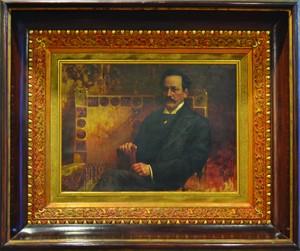 Retrato de Juan Silvano Godoy exhibido en el Museo Nacional de Bellas Artes, autoría de Teófilo Castillo, óleo sobre tela (1901). Fotografía de Jorge Candia Coronel para la SNC